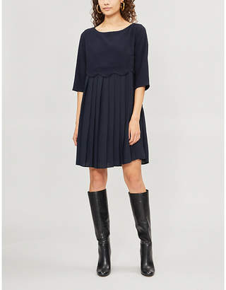 Claudie Pierlot Scalloped-trim pleated knitted dress