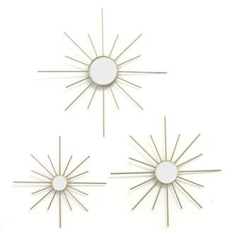 Stratton Home Décor Stratton Home Decor Set of 3 Gold Mirror Burst Wall Decor