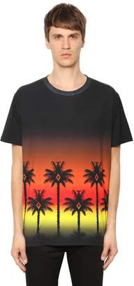 Marcelo Burlon County of Milan Red Palm Printed Cotton Jersey T-Shirt