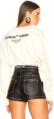 Off-White Off White Quotes Crop Crewneck