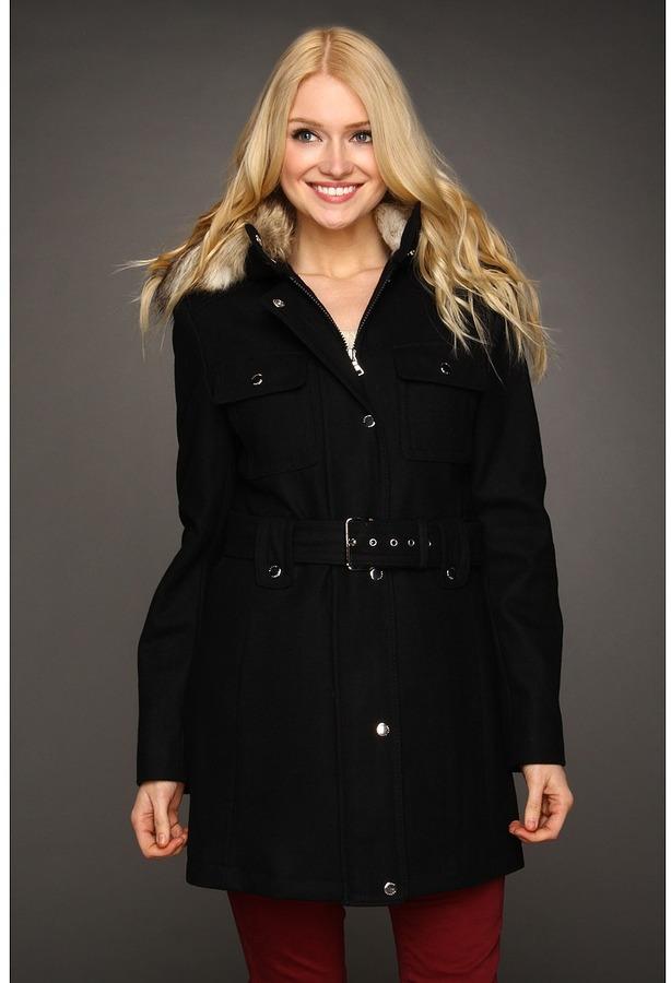 Esprit Belted Patch Pocket Wool Jacket (Black) - Apparel