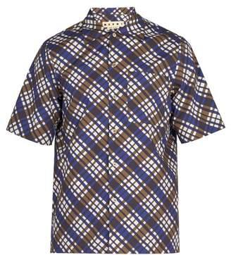 Marni - Checked Cotton Shirt - Mens - Blue