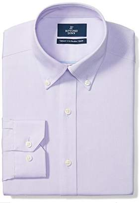 Buttoned Down Men's Tailored Fit Button-Collar Solid Non-Iron Dress Shirt (No Pocket)