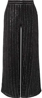 Temperley London Neri Sequin-embellished Georgette Wide-leg Pants - Black