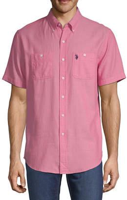 U.S. Polo Assn. USPA Mens Short Sleeve Stripe Button-Front Shirt