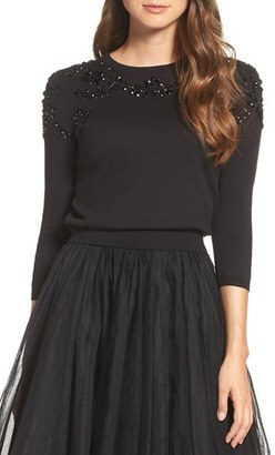 Women's Jenny Yoo 'Millie' Beaded Cotton Blend Sweater $220 thestylecure.com