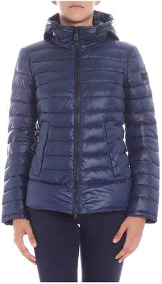 Peuterey Lightweight Short Down Jacket Color Blue With Quilt Ripstop