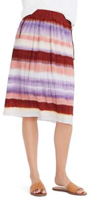 Madewell Texture & Thread Ombre Rainbow Micropleat Midi Skirt