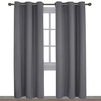 NICETOWN Three Pass Microfiber Noise Reducing Thermal Insulated Solid Ring Top Blackout Window Curtains/Drapes (Two Panels