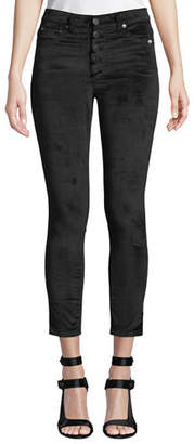Alice + Olivia AO.LA by Alice+Olivia Good High-Rise Button-Fly Velvet Skinny Jeans