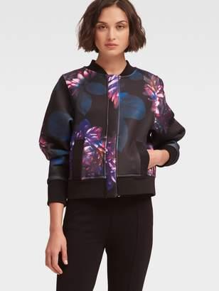 DKNY Evening Mums Floral-Print Bomber Jacket