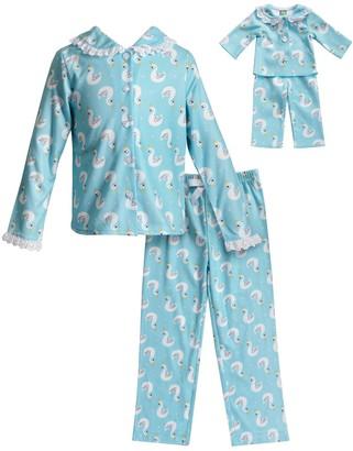 Dollie & Me Girls 4-14 Swan Top & Bottoms Pajama Set & Doll Pajamas