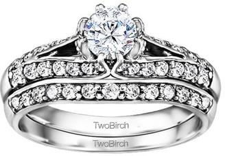 TwoBirch Bridal Set(engagment ring & matching band)in 10k Gold With Cubic Zirconia(1.11tw)