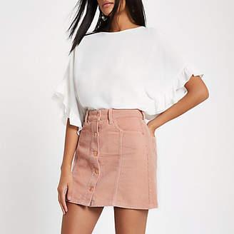 River Island Womens Pink corduroy button through mini skirt