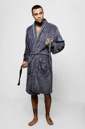 boohoo Collared Fleece Robe With Pockets 37010185f