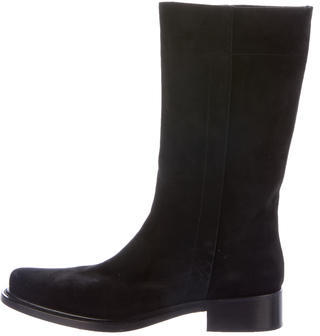pradaPrada Suede Mid-Calf Boot