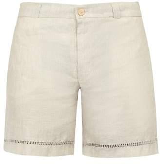 BEIGE Hecho - Deshilado Embroidered Linen Shorts - Mens