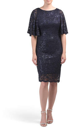 Sequined Lace Capelet Dress