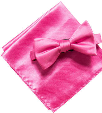 Alfani Men's Satin Solid Bow Tie & Pocket Square Set