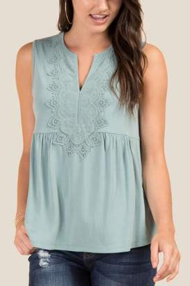francesca's Lucy Crochet Front Sleeveless Top - Teal
