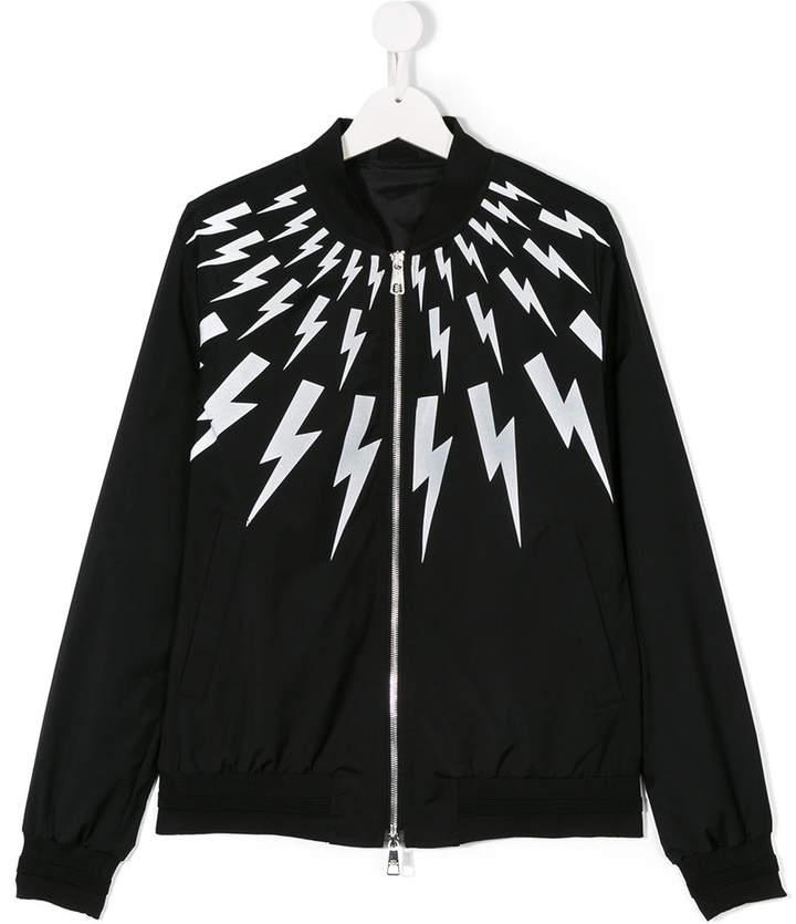 Neil Barrett Kids lightning bolt print bomber jacket