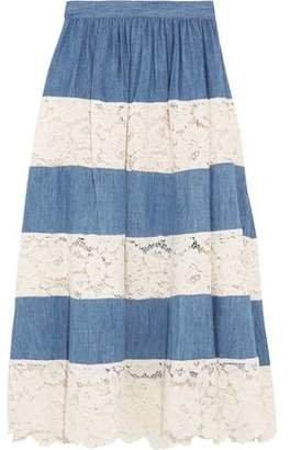 Alice + Olivia Romy Chambray And Lace Midi Skirt
