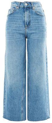 Topshop Moto mid blue cropped wide leg jeans