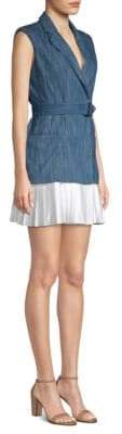 Alexis Danya Denim Pleated Hem Dress