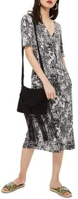 Topshop Monochrome Landscape Midi Dress