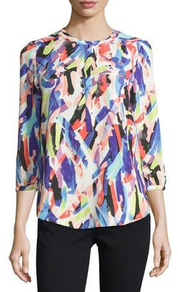 NYDJ 3/4-Sleeve Printed Blouse $95 thestylecure.com