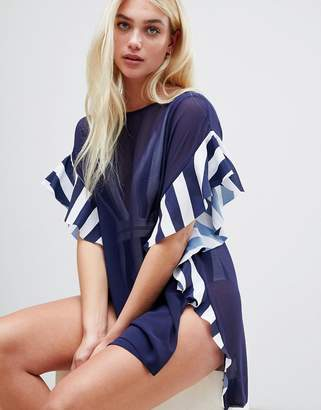 Ted Baker stripe detail swimwear cover up