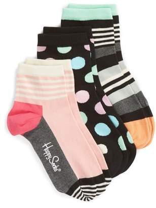Happy Socks Stripe & Dot 3-Pack Ankle Socks