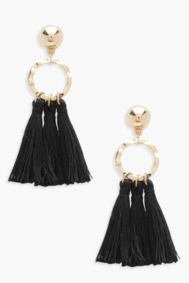 boohoo Circle Tassel Earrings