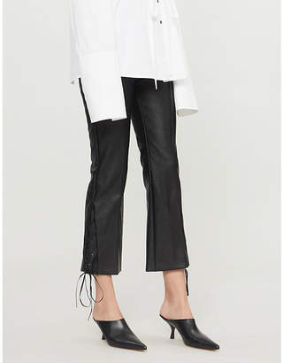 Stella McCartney Flared cropped faux-leather trousers