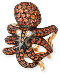 Roberto Coin 18k Rose Gold Orange Sapphire Octopus Ring, Size 6.5