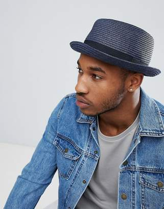 Asos DESIGN straw pork pie hat in navy