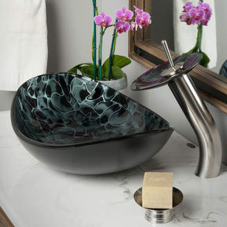 Novatto Tartaruga Glass Oval Vessel Bathroom Sink with Faucet Faucet