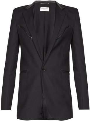 Saint Laurent Leather Trimmed Wool Crepe Blazer - Mens - Black
