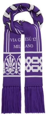 Versace Logo Intarsia Wool Scarf - Mens - Purple