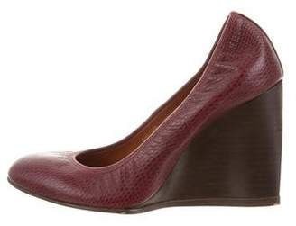 Lanvin Embossed Leather Wedges