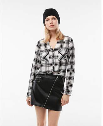 Express slim fit plaid portofino shirt