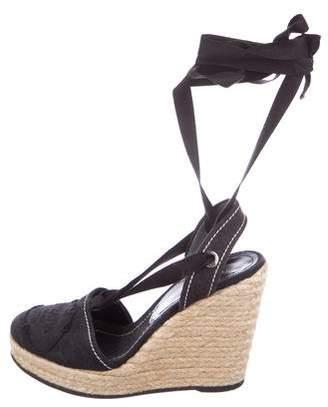 536939908 Prada Black Wedge Heel Women's Sandals - ShopStyle