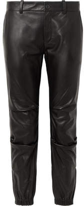 Nili Lotan Cropped Leather Tapered Pants - Black