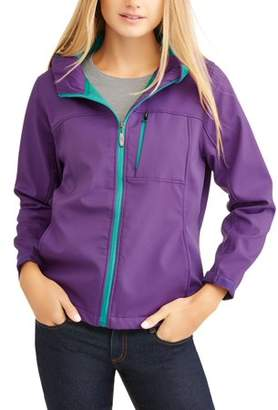I5 Apparel Women's Bonded Hooded Soft Shell Jacket W/Contrast Color Zipper