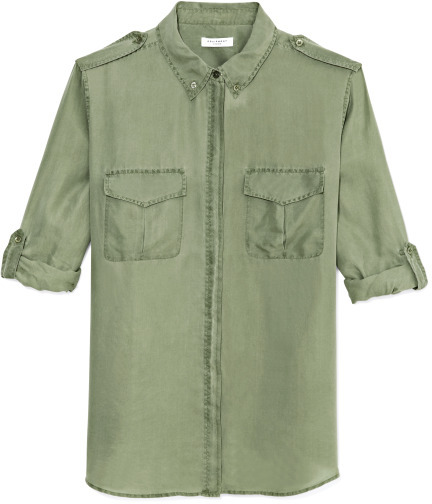 Equipment Safari Green Pigment Dyed Washed Habotai Major Blouse
