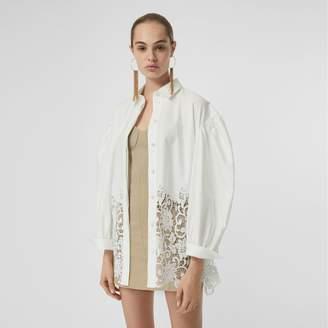 Burberry Macrame Lace Panel Cotton Oxford Shirt