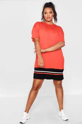 boohoo Plus Jersey Stripe Hem T Shirt Dress