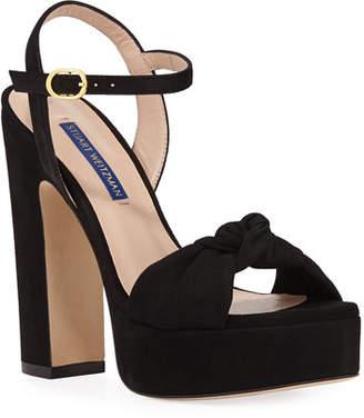Stuart Weitzman Mirri Suede Block-Heel Platform Sandals