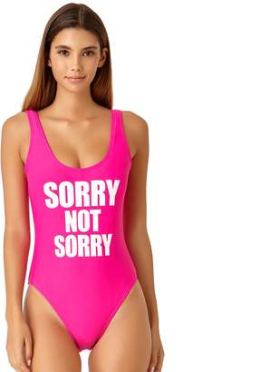 """Juniors' California Sunshine """"Sorry Not Sorry"""" One-Piece Swimsuit"""