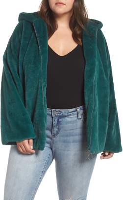 Glamorous Faux Fur Zip Front Hooded Jacket